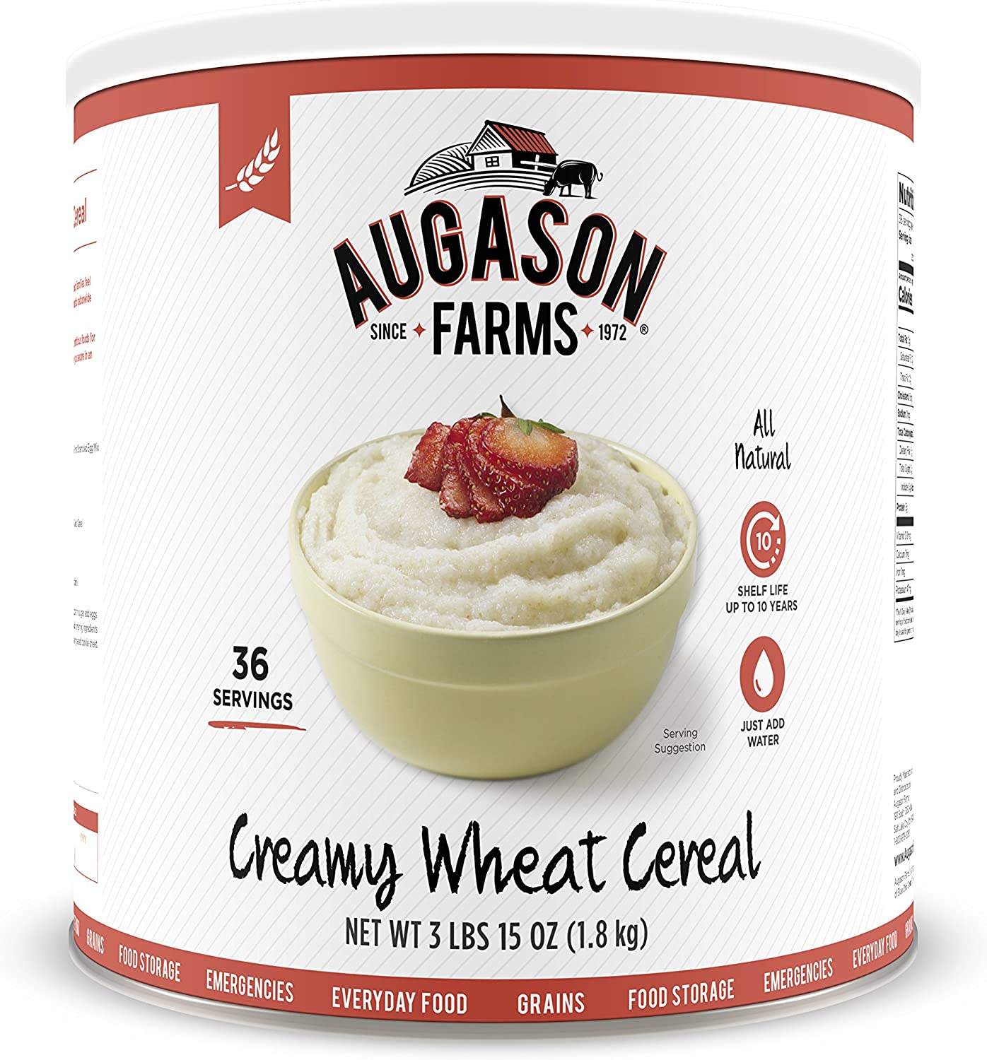 Augason Farms Creamy Wheat Cereal 3 lbs 15 oz No. 10 Can