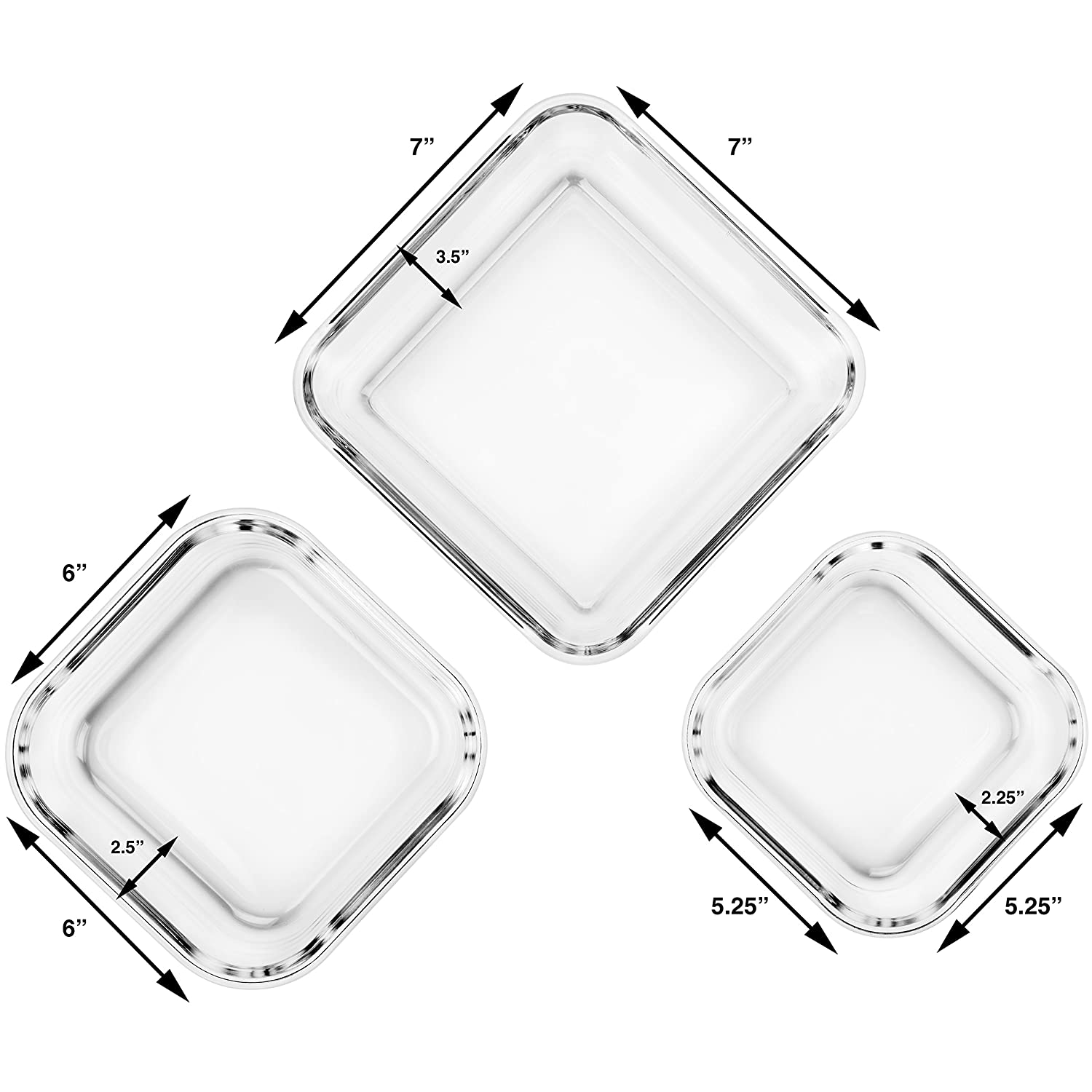 Extra Large Glass Food Storage Containers with Airtight Lid 6 Pc 3 containers with lids