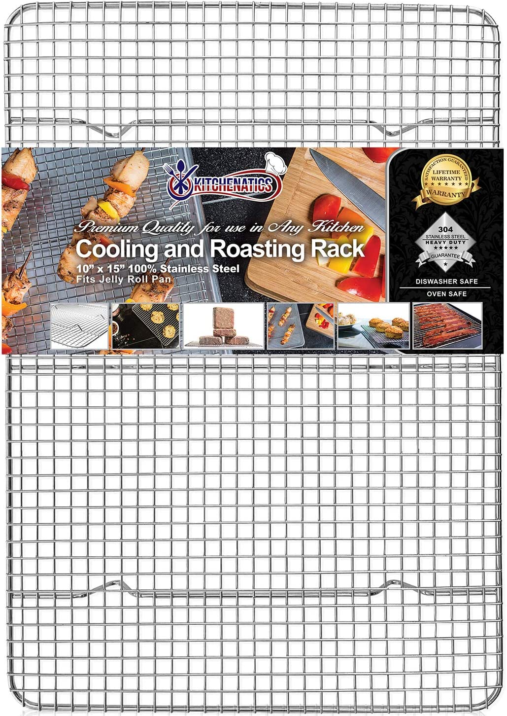 """Kitchenatics Commercial Grade 100% Stainless Steel Roasting and Cooling Rack, Thick-Wire Grid Fits Jelly Roll Pan Oven & Grill Safe Rust-Resistant for Cooking, Baking, BBQ, Heavy Duty - 10"""" x 15"""""""