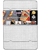 "Kitchenatics Commercial Grade Stainless Steel Cooling and Roasting Rack Heavy Duty Thick-Wire Grid Fits Jelly Roll Pan Oven-Safe Rust-Resistant for Cooking, Roasting, Grilling, Drying - 10"" x 15"" (in)"