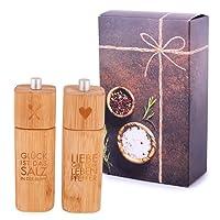 Räder Salzmühle GLÜCK und Pfeffermühle Liebe Bambus in Geschenkverpackung