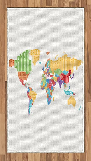 Amazon world map area rug by lunarable colorful high school world map area rug by lunarable colorful high school classroom map with names of countries gumiabroncs Images