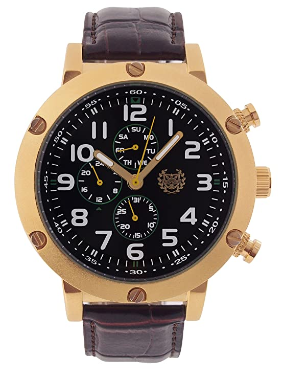 Amazon.com: ShoppeWatch Mens Watch Large Face Brown Leather Black Dial Gold Case Multifunction Day Date Reloj AQ202803G: Watches