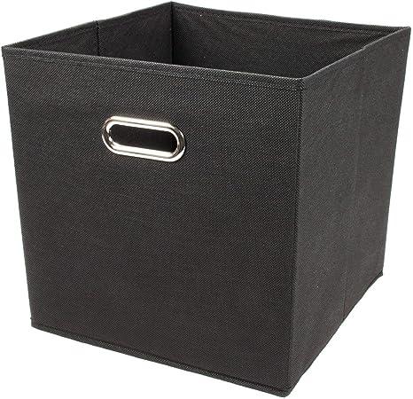 Zeller 14113 - Caja de almacenaje de tela, plegable, 32 x 32 x 32 cm, color negro: Amazon.es: Hogar
