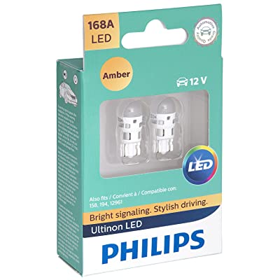 Philips 168ALED Ultinon LED Bulb (Amber), 2 Pack: Automotive