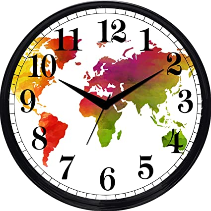 2842e136580 Buy Cartoonpur Round Large Designer Decorative World Map Wall Clock - Non  Ticking   Silent 11-Inch Wall Clock for Home   Bedroom   Living Room    Kitchen ...