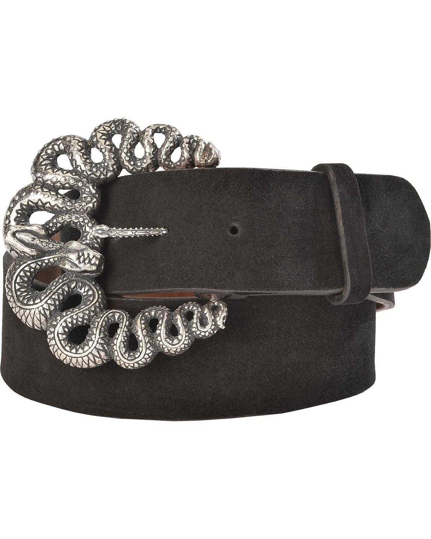 Lucchese Women's Suede Snake Buckle Belt Black Medium