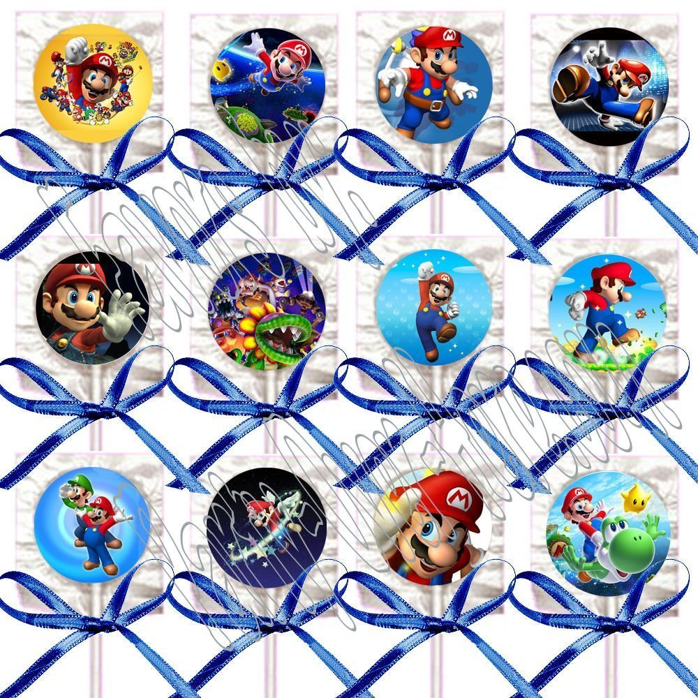12 pcs Party Over Here Lollipops Party Favors Supplies Decorations Video Game Lollipops Suckers with Dark Blue Ribbon Bows Favors Super Mario Bros