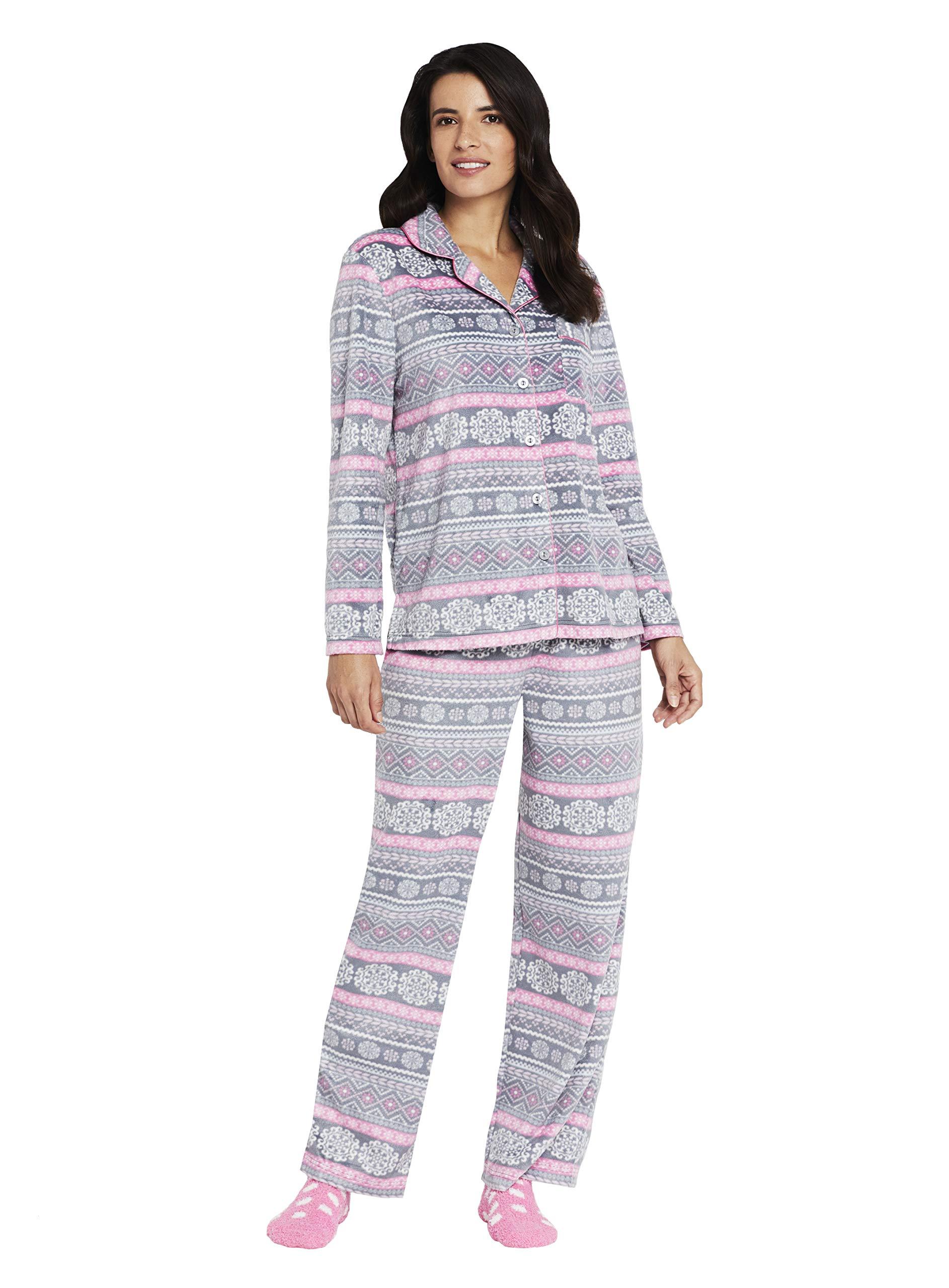 Karen Neuburger Women's Petite Long Sleeve Minky Fleece Pajama Set PJ, Medallion Fairisle Charcoal Grey/Pink/White, P/M by Karen Neuburger
