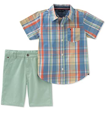 76b9d4fc Amazon.com: Tommy Hilfiger Baby Boys 2 Pieces Shirt Shorts Set: Clothing