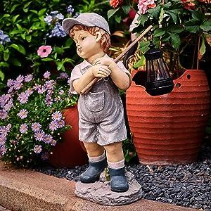 "Boy Garden Statue Solar Light, Garden Statue Boys with Solar Lantern, Gift for Garden, Patio, Lawn, Yard, Housewarming, Thanksgiving,Arbor Day, Hand-Painted Sculpted Figure, 17.5""H Polystone"