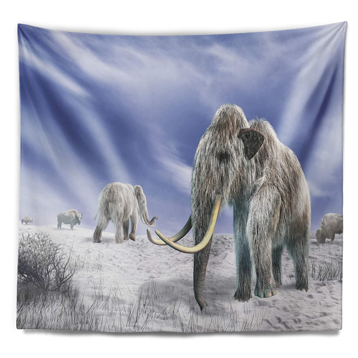 Created On Lightweight Polyester Fabric x 50 in 60 in Designart TAP9023-60-50  Mammoth Elephants in Field Landscape Photography Blanket D/écor Art for Home and Office Wall Tapestry Large