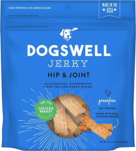 Dogswell Jerky Dog Treats, Made in USA Only with Glucosamine, Chondroitin New Zealand Green Mussel for Happy Hips