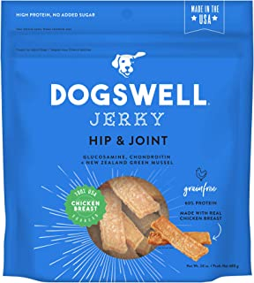 product image for Dogswell Jerky Dog Treats, Made in USA Only with Glucosamine, Chondroitin & New Zealand Green Mussel for Happy Hips
