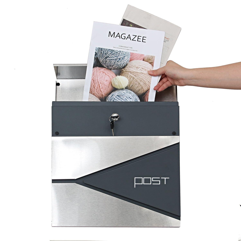 et 2 cl/és,Anthracite,370x370x110cm Mod/èle A LZQ Nouveau type Bo/îte aux lettres /à fixation murale Mail Box en Acier Inoxydable avec rouleau /à journaux Verrouillable