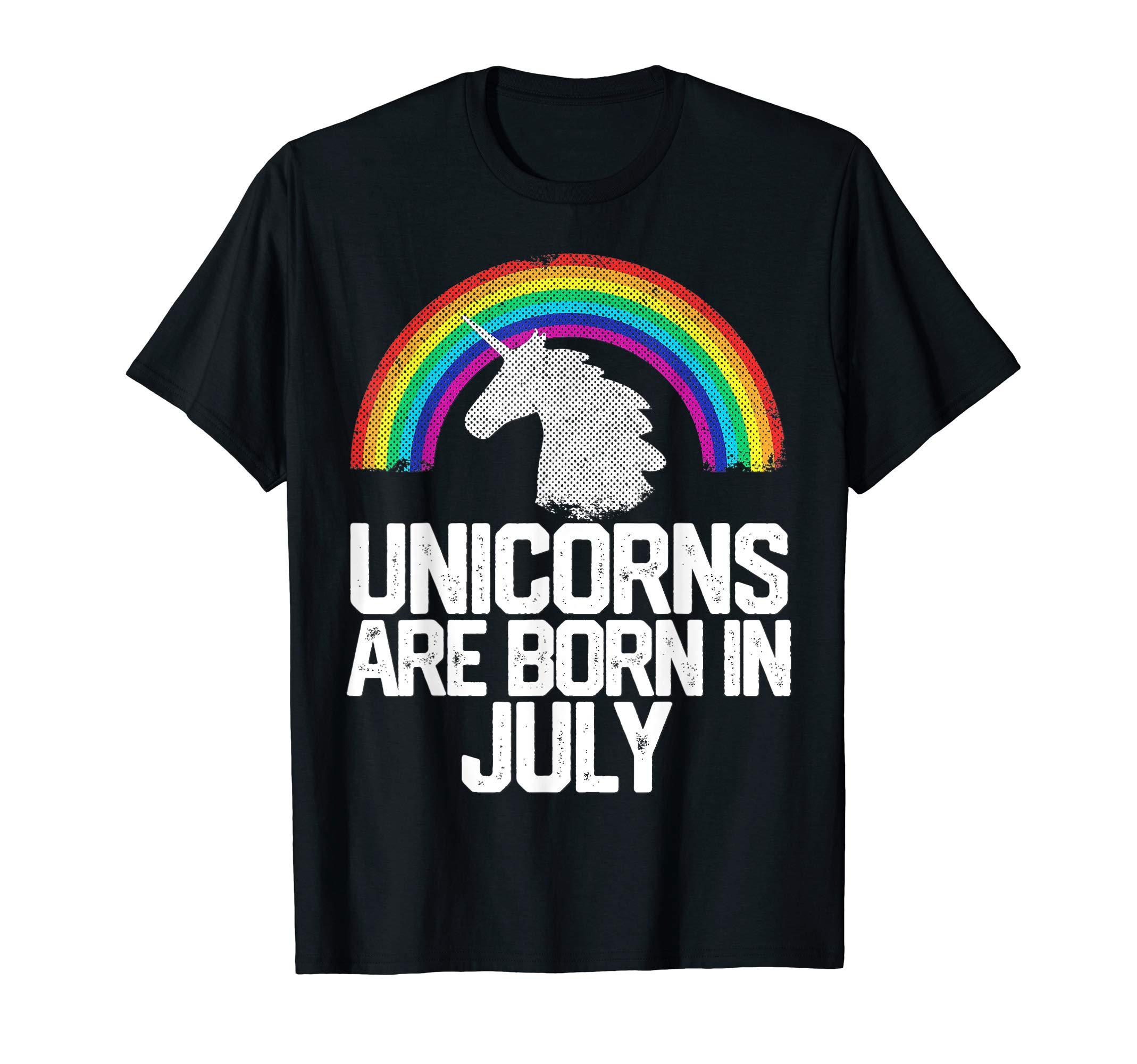 UNICORNS ARE BORN IN JULY Birthday T-Shirt Rainbow Girl Gift T-Shirt 3