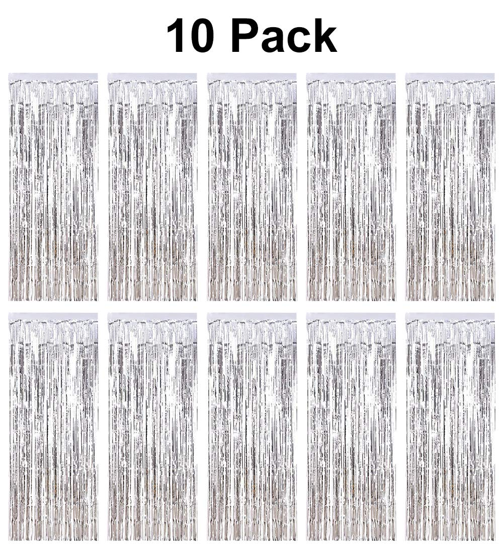 pozzolanas 10 Pack Foil Fringe Curtain Metallic Tinsel Fringe Curtains Shimmer Party Photo Backdrop Curtains for Birthday, Christmas, New Years, Weddings Party Decorations(Silver)