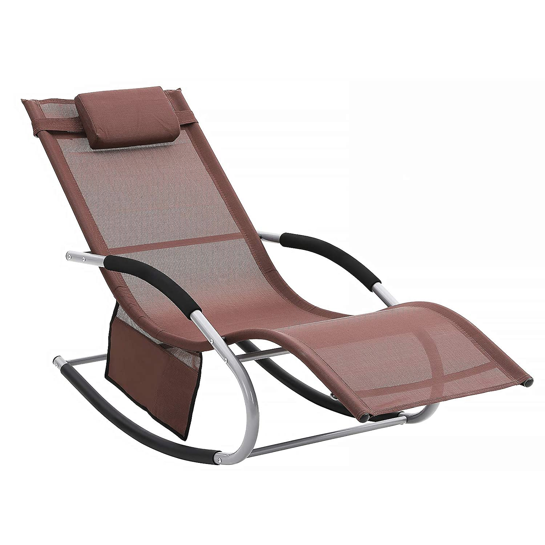 Schaukelstuhl mit Kopfkissen und Seitentasche komfortabel Eisengestell schwarz GCB23BK bis 150 kg belastbar SONGMICS Sonnenliege atmungsaktives Textilene-Gewebe