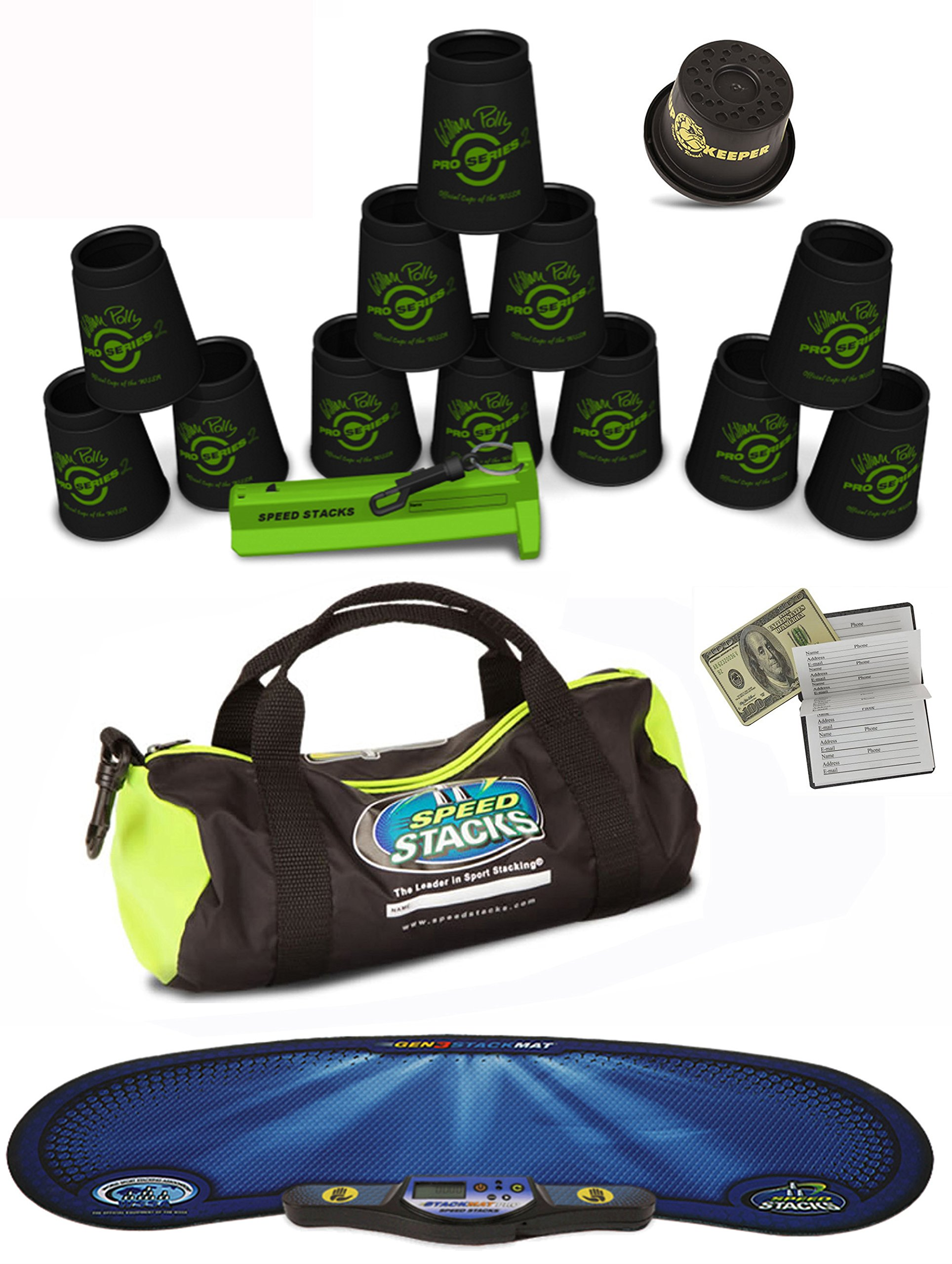 Speed Stacks Custom Combo Set - The Works: 12 Pro Series BLACK 4'' Cups, Cup Keeper, Quick Release Stem, Pro Timer, Gen 3 Mat, Gear Bag & $100 Design Magnetic Credit Card Size Address Book by Speed Stacks