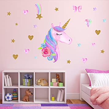 Amazon Com Unicorn Wall Decals Unicorn Wall Sticker Decor With Heart Flower Birthday Christmas Gifts For Boys Girls Kids Bedroom Decor Nursery Room Home Decor Unicorn A Baby
