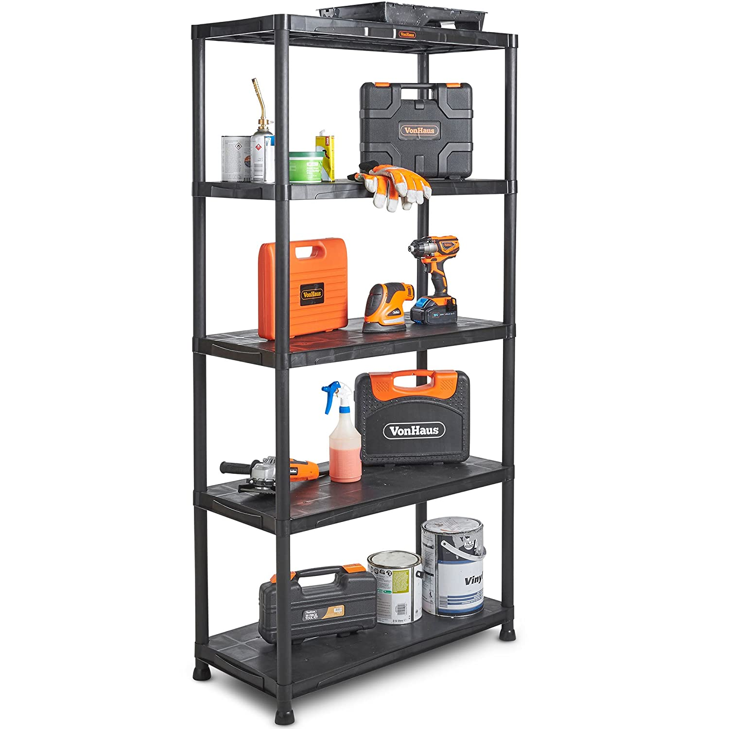 VonHaus 5 x 5 Tier Garage Shelving – Extra Wide Plastic Racking, Free Standing Shelves – 625KG Capacity 25KG per Shelf | 174cm H 420cm W 40cm D