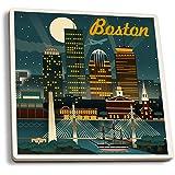 Boston, Massachusetts - Retro Skyline (Set of 4 Ceramic Coasters - Cork-backed, Absorbent)