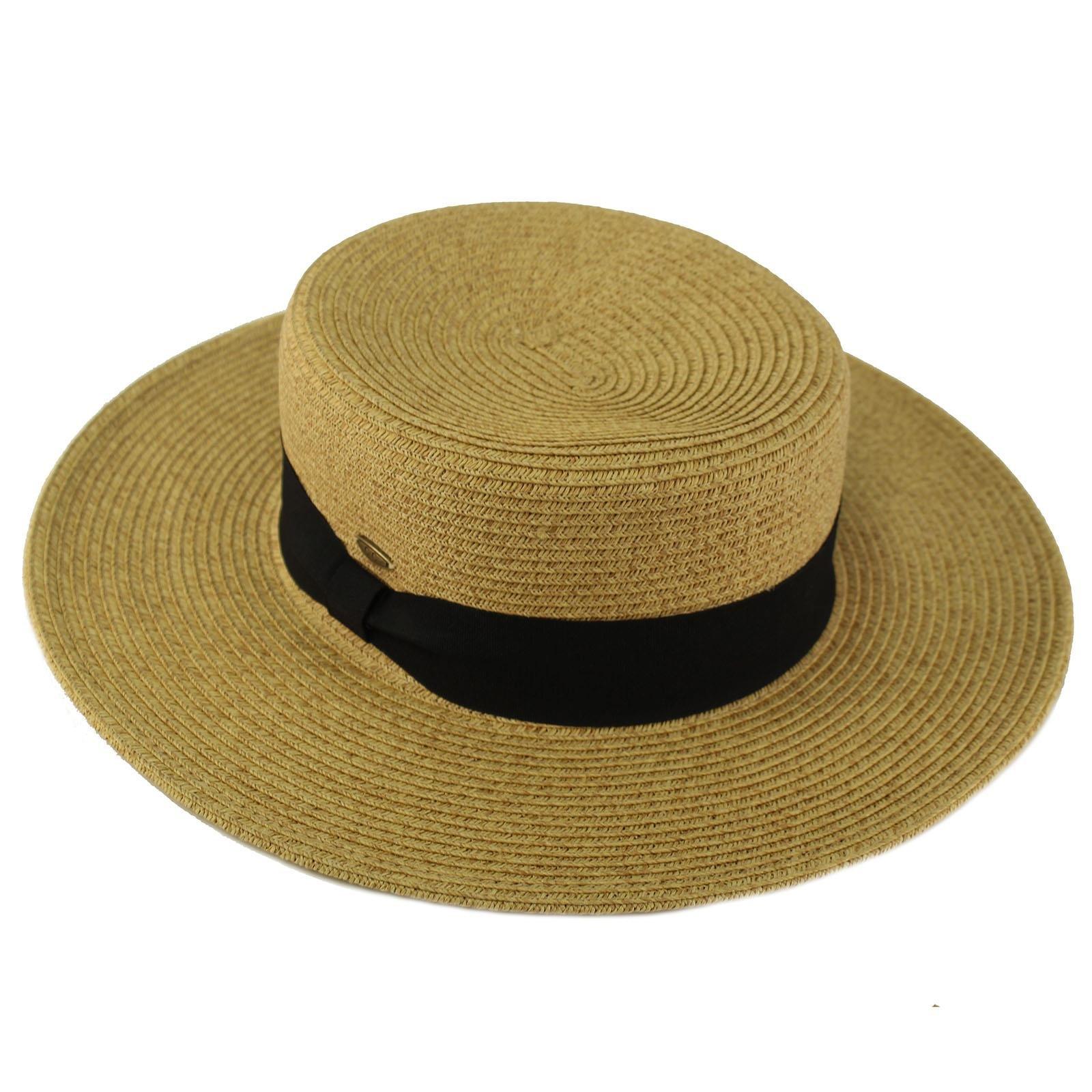C.C Unisex Grosgrain Band Wide Porkpie Boater Derby Flat Top Fedora Sun Hat Toast/Black