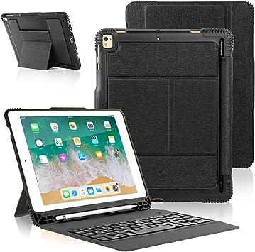 iPad 2018 iPad 2017 Funda de Teclado con Portalápices, Teclado Inalámbrico Bluetooth con Cubierta Trasera Resistente a Golpes a Prueba para iPad 2018 ...