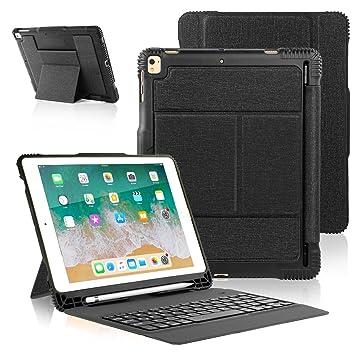 iPad 2018 iPad 2017 Funda de Teclado con Portalápices, Teclado Inalámbrico Bluetooth con Cubierta Trasera