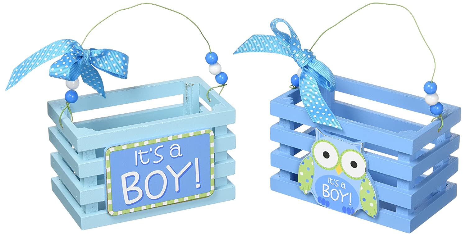 d2394aa7d5dab Blue Wood Crates/boxes with It's A Boy and Owl Design for Baby Boy Shower  Favors -Set of 2