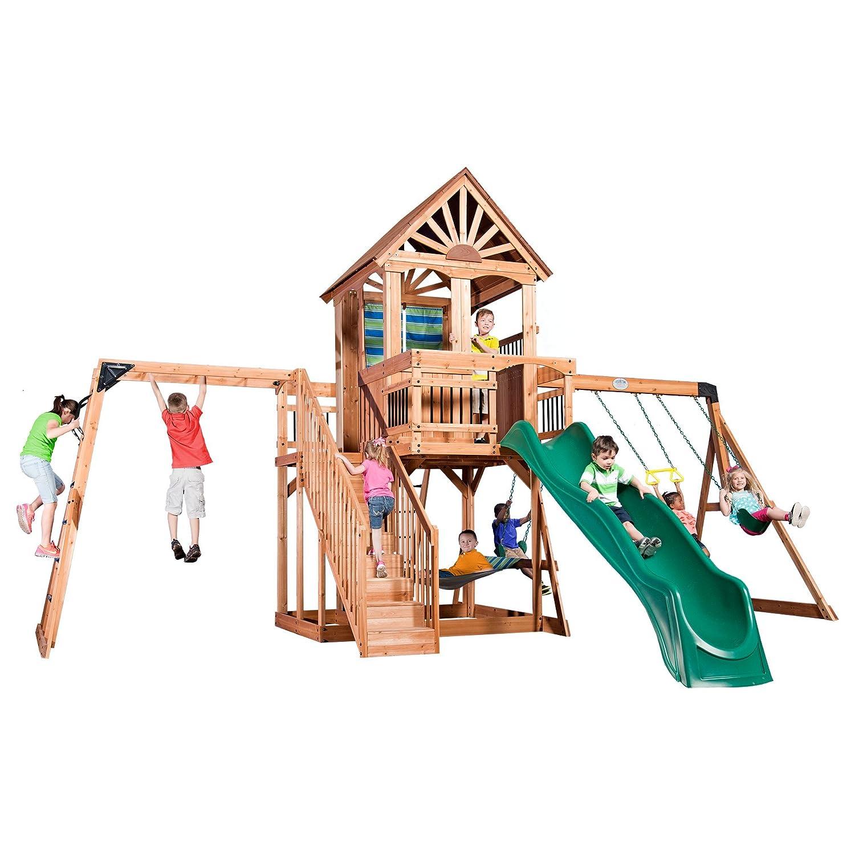 amazon com backyard discovery oceanview all cedar wood playset