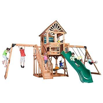 Backyard Discovery Oceanview All Cedar Wood Playset Swing Set