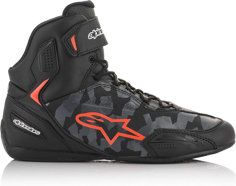 Blanco//Rojo Negro Botas de Moto Alpinestars Faster-3 Rideknit Shoes Black White Red 38