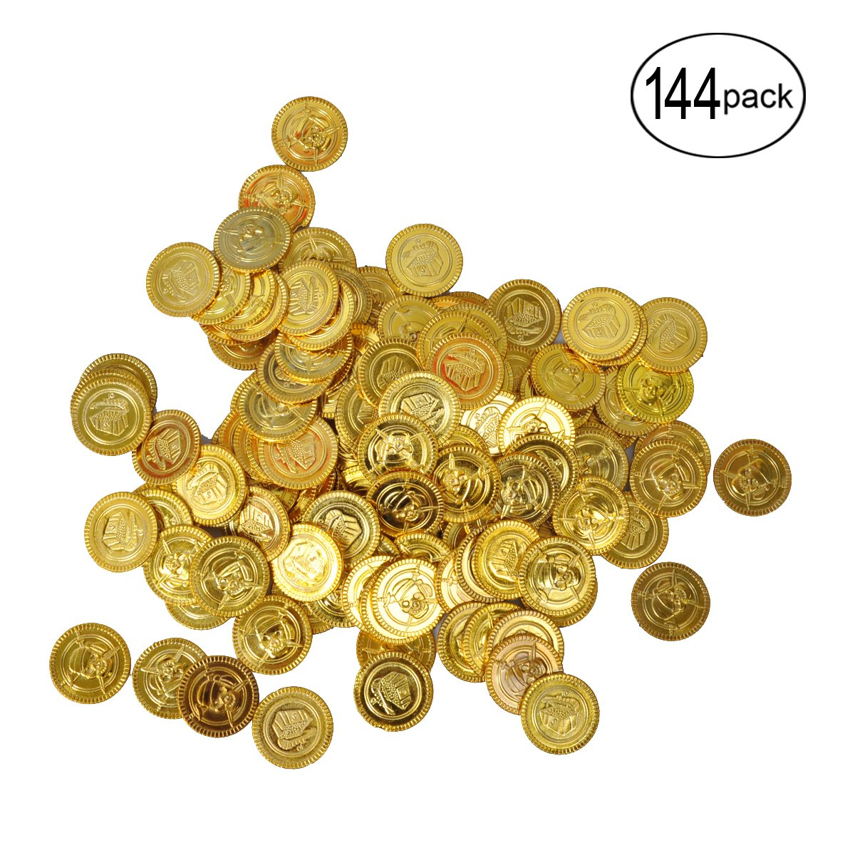 144 Pieces BUYDEAL Pirate Coins Pirate Party Favor Plastic Gold Coins