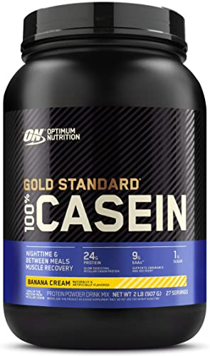 Optimum Nutrition Gold Standard 100 Micellar Casein Protein Powder, Slow Digesting, Helps Keep You Full, Overnight Muscle Recovery, Banana Cream, 2 Pound Packaging May Vary