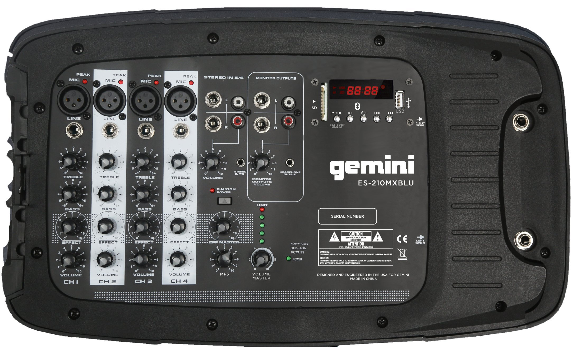 Gemini ES Series ES-210MXBLU Professional Audio Portable PA System with Two 10'' Passive Speakers and Microphone Included, 8 Channel Mixer, 4 Line/Mic Inputs by Gemini (Image #4)