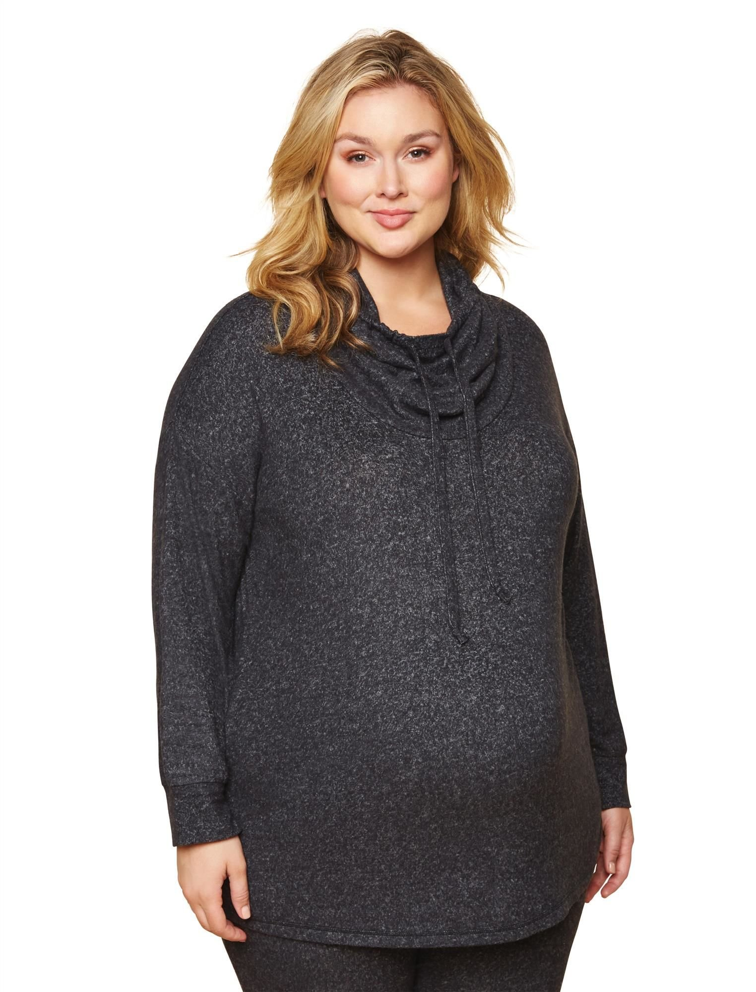 Motherhood Maternity Women's Maternity Plus-Size Cowl Neck Brushed Hacci Tunic, Charcoal, 1X