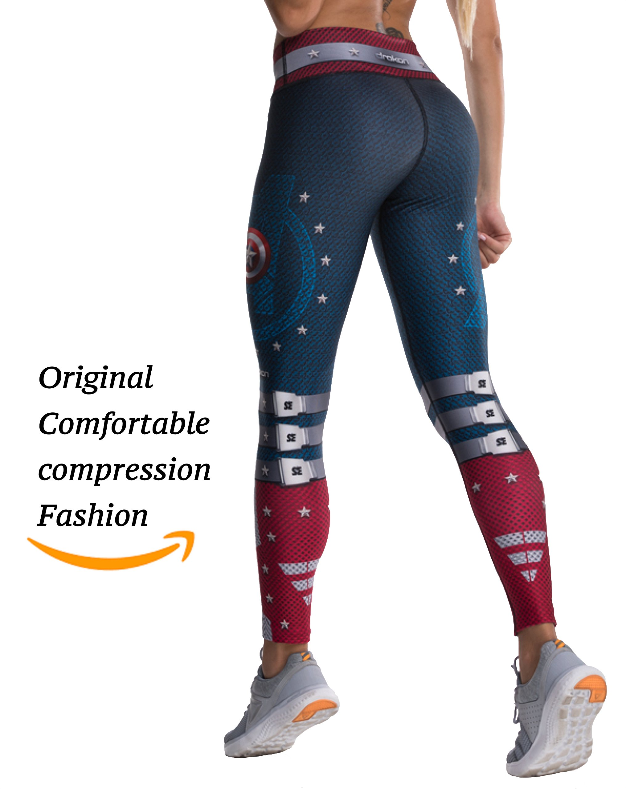 Drakon Many Styles of Crossfit Leggings Women Colombian Yoga Pants Compression Tights (Captain America)