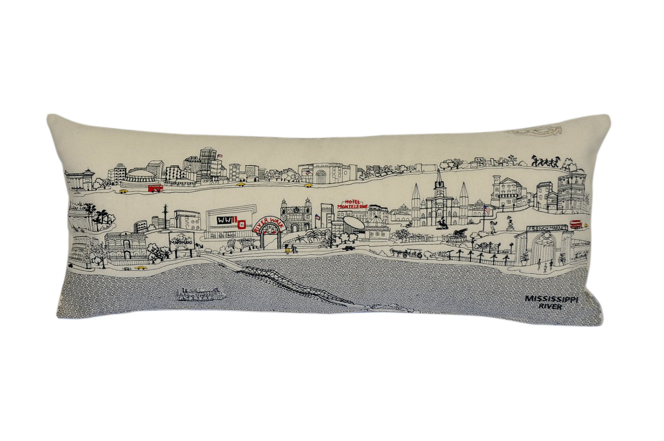 Beyond Cushions Polyester Throw Pillows Beyond Cushions New Orleans Daytime Skyline Queen Size Embroidered Accent Pillow 35 X 14 X 5 Inches Off-White Model # NOL-DAY-QUN