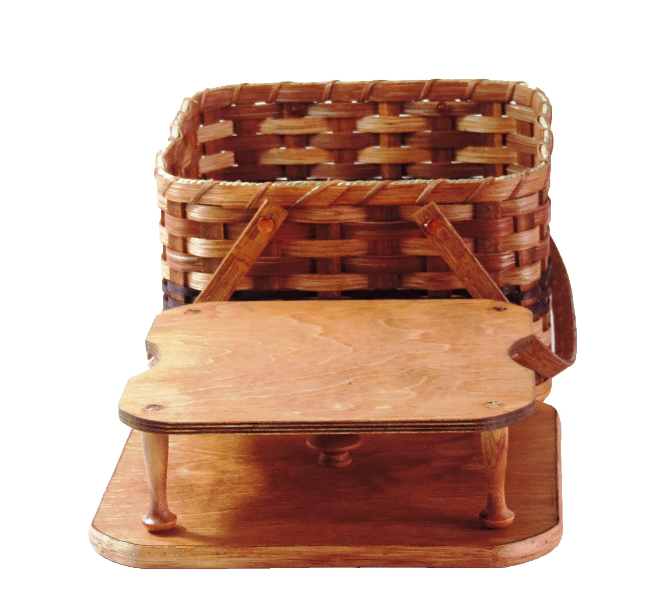 AMISH BASKETS AND BEYOND Amish Handmade Square Double Pie Basket w/Inside Tray, Lid, and Two Swinging Carrier Handles (Wine w/o Liner, Regular)