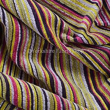 Exclusive Fabric Soft Woven Jacquard Chenille Textured Stripe