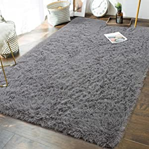 Andecor Soft Fluffy Bedroom Rugs - 6 x 9 Feet Indoor Shaggy Plush Area Rug for Boys Girls Kids Baby College Dorm Living Room Home Decor Floor Carpet, Grey
