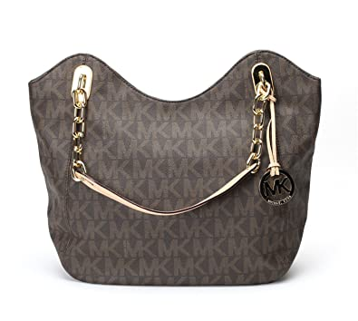 7319924989b9d0 Michael Kors MD Lilly Tote Signature PVC Brown Leather: Handbags ...