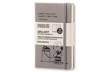 Moleskine DPE18WN2Y17 - Agenda semanal 18 meses, diseño Carlitos y Snoopy, edición limitada, pocket 9 x 14