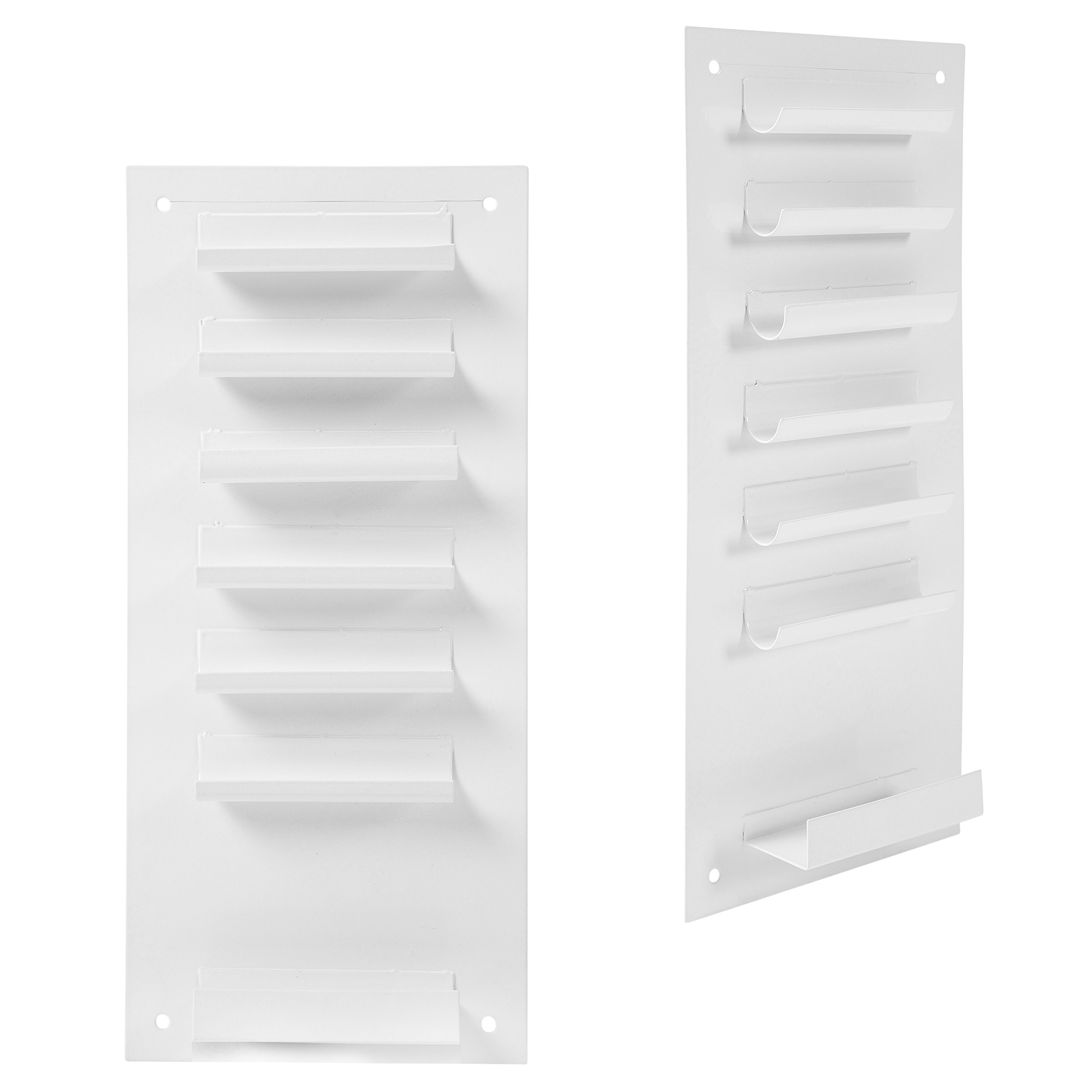6-Slot Wall Mounted Metal Dry Erase Marker and Eraser Holder/Vertical Storage System, White (Set of 2) by MyGift (Image #2)