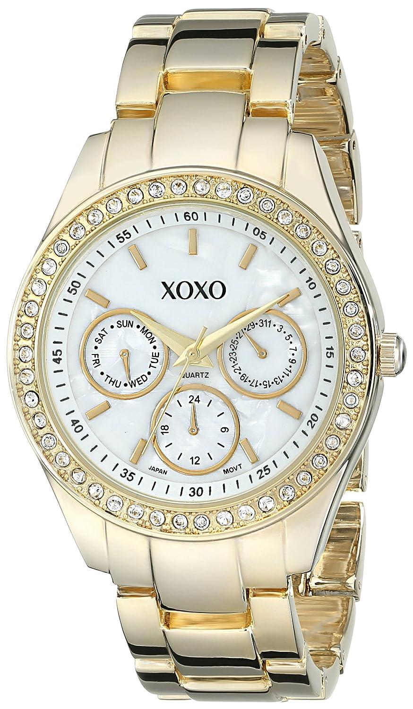 Xoxo women 39 s xo5302a rhinestone accented gold tone bracelet watch ebay for Watches xoxo