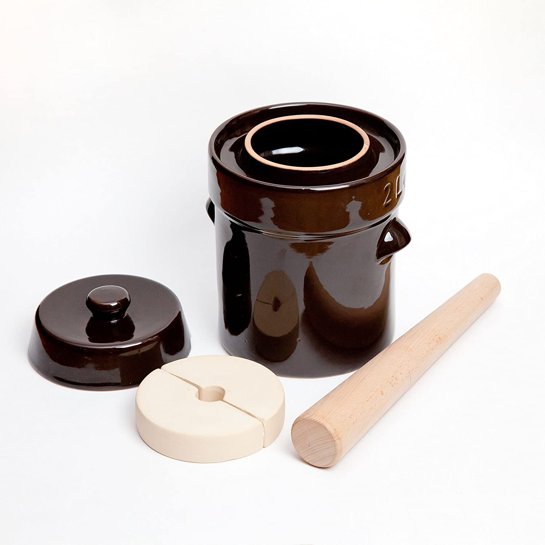 Kenley Fermentation Crock Jar 2 Liter - Stoneware Pot for Fermenting or Pickling Kimchi, Sauerkraut, Pickles, Vegetables, Kombucha - 0.5 Gallon Ceramic Fermenter with Weights, Lid & Pounder