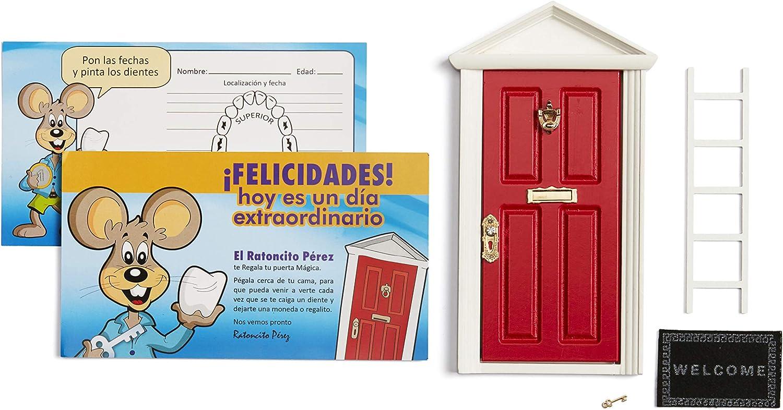 🐭 Ratoncito Pérez: Puerta Mágica Roja + Escalera + Felpudo + Llave + Postal de Felicitación + dibujo para anotar y pintar las fechas de los dientes caídos