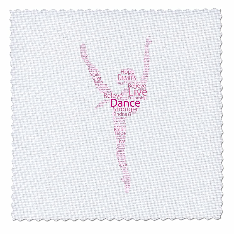 3D バラ ピンク シルエット ダンサーのシルエット キルト 正方形、8 x 8 B01LVWROKB