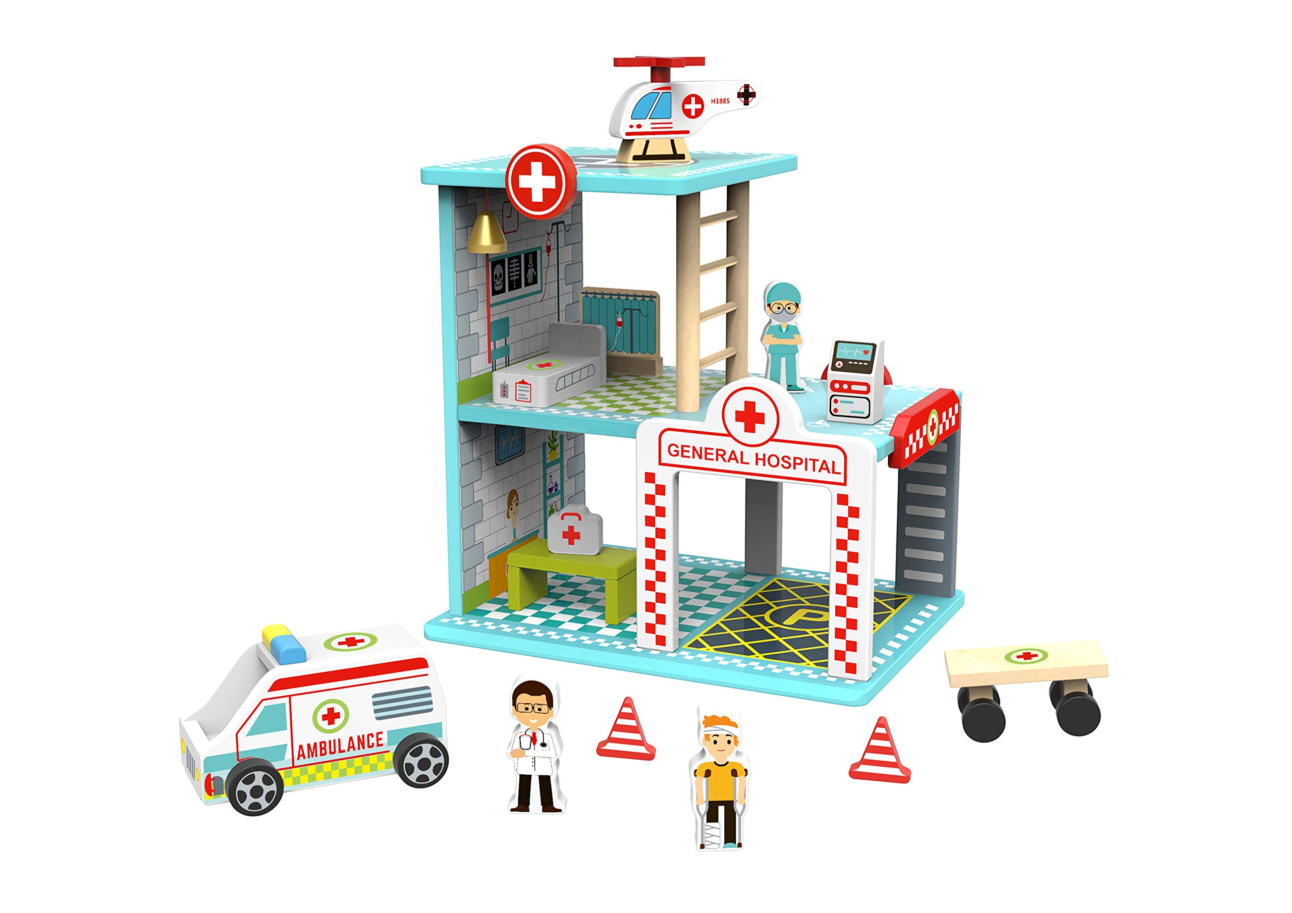 TOYSTER'S My Big Hospital Station Wooden Emergency Vehicle Playset | Toddler Toy House Dollhouse for Boys and Girls | Kids Wood Doctor Nurse Play Set Playhouse | Suitable for Ages 3 and Up